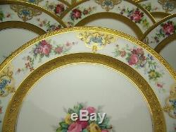 11 Superb Limoges Hand-painted Roses-in-a-vase Raised Gold Dinner Plates Signed
