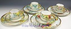 12 Pieces Limoges Bavaria Hand Painted Roses Trio Tea Cups Saucers Artist Signed