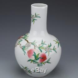 13 China antique Porcelain Qing yongzheng famille rose hand painting peach vase