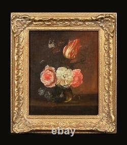 18th Century Dutch Old Master Still Life Of Flowers Tulips Roses Antique
