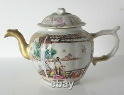 18th century Chinese Export Famille Rose Porcelain Teapot hand painted figures