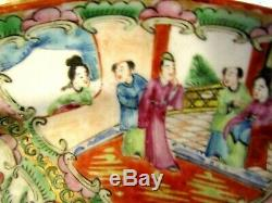 1908 Chinese Large Serving Platter 13 Inch Rose Medallion Moriage Hand Painted