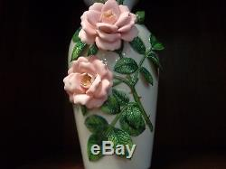 1984 Franklin Celestial Rose Hand Painted Vase By Rosanne Sanders Limited Ed