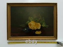 19TH CENTURY antique Oil Painting Of Rose And VIOLET 10 x 14 inches