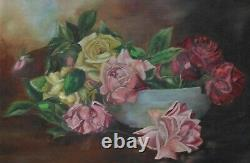 19c. Roses Oil Painting Pink Yellow & Red Antique Still Life Shabby Cottage Chic