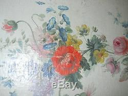 19th C. FLORAL FLOOR SCREEN in CONTINENTAL CANVAS OIL PAINTED blue w. Pink roses