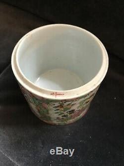 19th Century Chinese Famile Rose Canton Pot Tea Caddy Jar Porcelian Hand Painted