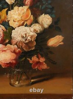 19th Century Dutch Old Master Style Still Life Of Flowers Tulips Roses Antique