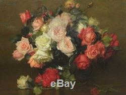 19th Century English Still Life Roses Flowers Glass Bowl Antique Oil Painting