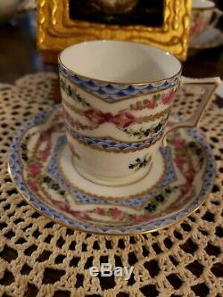 19th Century Hand painted Sevres style pink Rose garland and gold demitasse cup