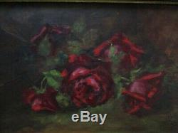 19th Century Roses Signed Beaton Oil On Canvas 1899 Antique Floral Flowers Old