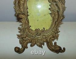 19th c. Picture Photo Frame French Rococo Style Cherub Roses Dolphin Cast-Iron