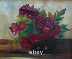 19th c. Still Life Oil Painting Roses Antique Victorian Floral Flowers in Wood &