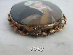2.5 Antique Victorian Hand Painted Portrait Brooch Young Lady Prayer Rose Gold