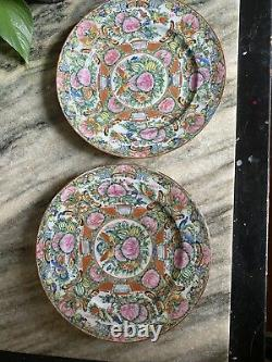 2- Antique Chinese Famille Rose Medallion Hand Painted Plates 9 1/2