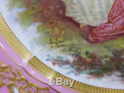 2 Antique Rose Pink Signed Sevres 1755 Hand Painted Courting Scene Plates