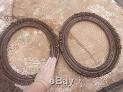 2 VTG Antique Gesso & Dark Wood Oval Picture Frames w Roses Heavy 11 X 14 Pair