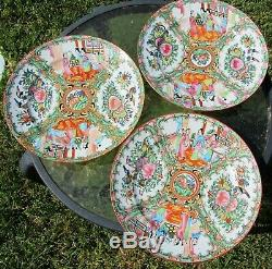 3 Antique 9.5 Chinese Porcelain Rose Medallion Dinner Plates Hand Painted