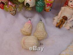 3 Antique Unsilvered Glass Xmas Ornaments Embossed Painted ROSES Feather Tree