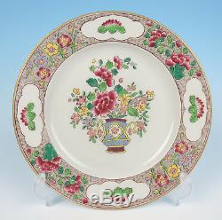 4 Antique Samson Hand Painted Chinese Famille Rose Style Plates French Porcelain