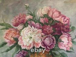 40's LG Floral Painting O/C Cottage Cabbage Roses & Peonies