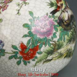 6.3 Old qianlong marked famille rose Porcelain hand painted peony Magpie vase