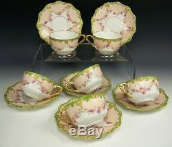 6 Limoges Hand Painted Roses Swags Green Raised Gold Tea Cups & Saucers Lot B