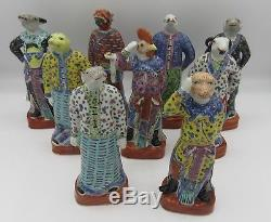 9 Vintage Chinese Famille Rose painted porcelain animal Zodiac figurines stamped