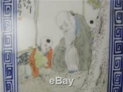 A18 Chinese MinGuo Tang Ziting Old Pastel Famille Rose Porcelain Panel Painting