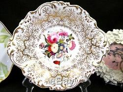ALCOCK 1830's hand painted floral rose cake plate scalloped edges fern pattern