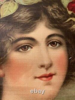 ANTIQUE 1800s Victorian Female Portrait ROSES Hand Colored Print on Canvas