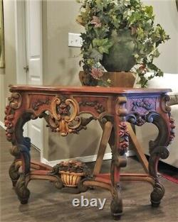 ANTIQUE 18thC FRENCH ITALIAN PAINTED CONSOLE TABLE ORNATE CARVED WOOD WITH ROSES
