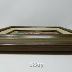 ANTIQUE 1910 Framed Oil On Canvas Painting Pink Red Roses Signed 16.5 x 14.5