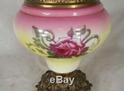 ANTIQUE 19th CENTURY MILK GLASS AND BRASS OIL LAMP WITH HAND PAINTED ROSES