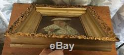 ANTIQUE 19th CENTURY OIL PAINTING PORTRAIT YOUNG WOMAN LACE ROSE FLOWER SIGNED