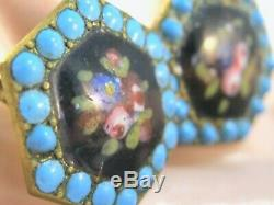 ANTIQUE BRASS w PERSIAN TURQUOISE ENAMEL DOTS SCREW ROSE FLORAL PAINTED EARRINGS