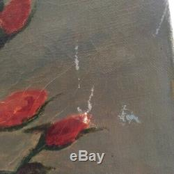 ANTIQUE FRENCH OIL PAINTING ON CANVAS Hd Ptd Pink & Cream ROSES Signed 1900's