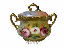 ANTIQUE HAND PAINTED LIMOGES ROSES BISCUIT JAR Signed And Stamped