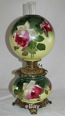 ANTIQUE Hand Painted Gone with the Wind Oil Lamp with ROSES ALL ORIGINAL