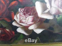 ANTIQUE LATE 1800s unsigned AMERICAN SCHOOL FLORAL STILL LIFE OF RED PINK ROSES