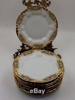 ANTIQUE LIMOGES ROSES HAND PAINTED PLATE SET of 9