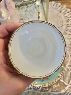 ANTIQUE MINTON HAND PAINTED CUP & SAUCER Turquoise Blue Gold ROSE