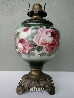 ANTIQUE ORNATE MILK GLASS OIL LAMP with HAND PAINTED ROSES