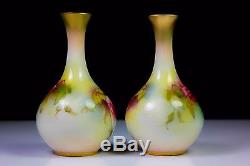 ANTIQUE PAIR OF ROYAL WORCESTER VASES PAINTED ROSES 2146 c. 1907