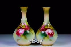 ANTIQUE PAIR OF ROYAL WORCESTER VASES PAINTED ROSES 2146 c1907