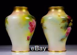 ANTIQUE PAIR OF ROYAL WORCESTER VASES PAINTED ROSES 2191 c. 1914