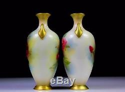 ANTIQUE PAIR OF ROYAL WORCESTER VASES PAINTED ROSES 287 c. 1915