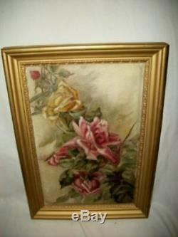 ANTIQUE ROSES OIL PAINTING PARIS FRANCE 1920's GOLD FRAME 100 YEARS OLD