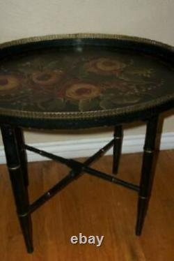ANTIQUE TOLE TRAY TABLE FOLDING LEGS HP ROSES FLOWERS FRENCH FARMHOUSE 1930s