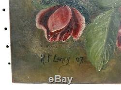 ANTIQUE VICTORIAN CABBAGE ROSES OIL PAINTING on BOARD SHABBY
